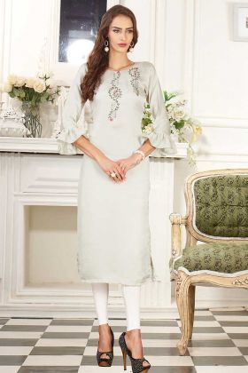 Mock Work Dolla Silk Fancy Kurti In White Smoke Color