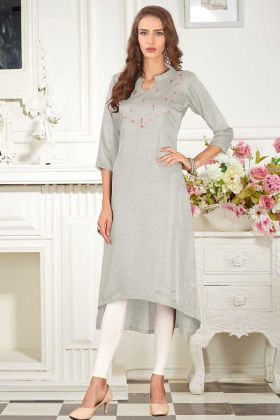 Mock Work Dolla Silk Fancy Kurti Light Grey Color