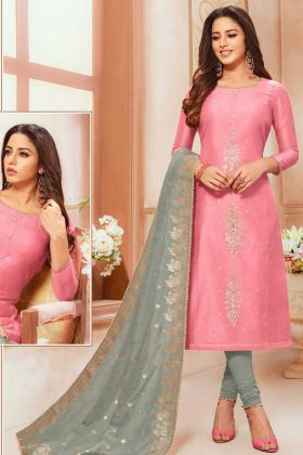 Modal Silk Pink Straight Salwar Suit In Embroidery