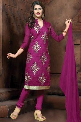 Modal Silk Purple Embroidery Straight Suit