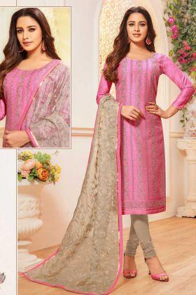 Modal Silk Rani Pink Salwar Kameez