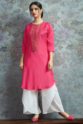 Modal Satin Indo Western Kurti  Rani Pink Color With Resham Embroidery Work