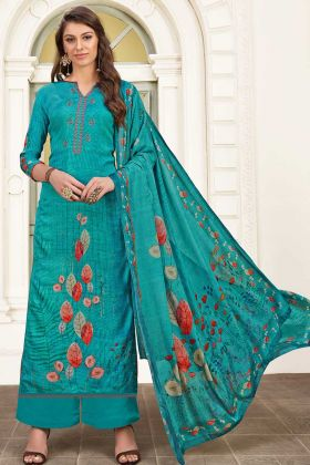Modal Satin Palazzo Salwar Suit Thread Embroidery In Blue Color