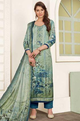 Modal Satin Pant Style Salwar Kameez Printed Work In Mint Green Color