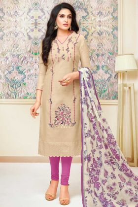 Modal Silk Churidar Dress Light Beige Color With Embroidered Work