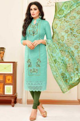 Modal Silk Churidar Salwar Suit UnStitched Aqua Color