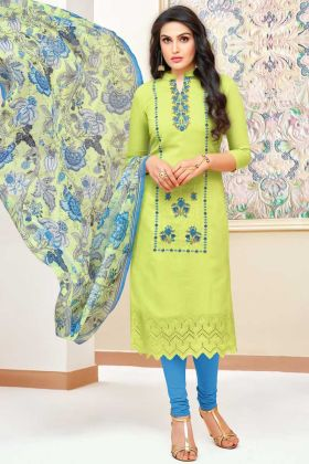 Modal Silk Churidar Suit Light Green Color With Stone Work