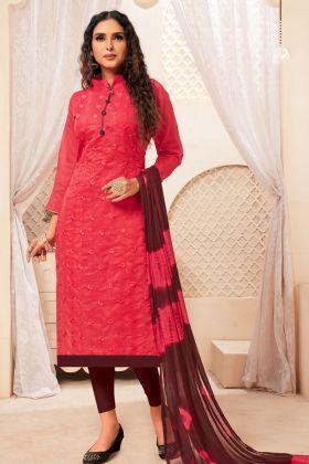 Modal Silk Dark Pink Straight Salwar Kameez