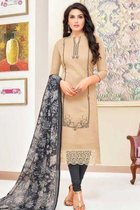 Modal Silk Straight Salwar Suit UnStitched Beige Color