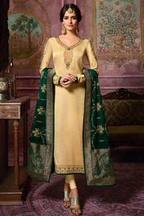 Modern Georgette Satin Embroidery Cream Semi-Stitched Straight Salwar Suit