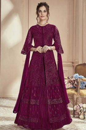 Mono Net Indo Western Dress Purple Color