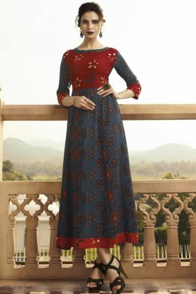 Monsoon Special Navy Blue And Red Rayon Kurti For Women