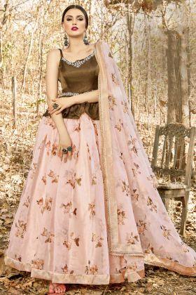 Monsoon Special Pastel Pink Art Silk Wedding Wear Lehenga