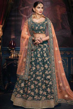 Morepeach Velvet Lehenga Trend For Wedding Occasion