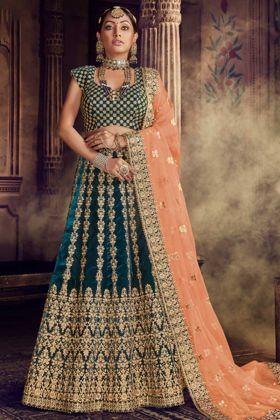 Morpeach Color Velvet Bridal Lehenga Choli With Net Dupatta