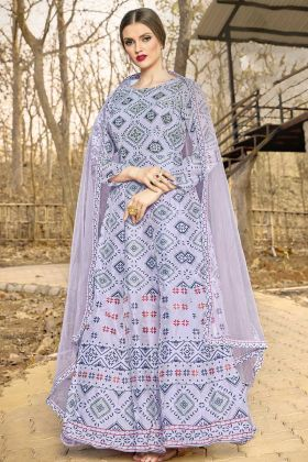 Most Attractive Grey Art Silk Floor Length Designer Gown