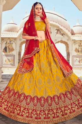 Most Attractive Mustard Color Soft Silk Embroidered Wedding Lehenga