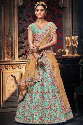 Most Attractive Sky Blue Handloom Silk Lehenga Choli With Heavy Dupatta