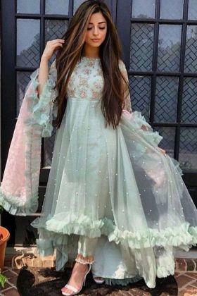 Most Deamading Sage Color Butterfly Mono Net Designer Salwar Suit