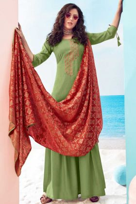 Most demanded Green Pure Viscose Maslin Suit