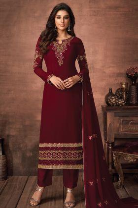 Most Demanded Maroon Color Foux Georgette Heavy Salwar Suit