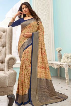 Most Demanding Beige Handloom Silk Printed Weaving Saree