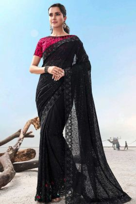 Most Demanding Black Color Heavy Work Traditional Saree