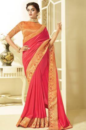 Most Demanding Bright Peach Color Art Silk Saree