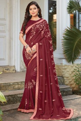Most Demanding Cotton Silk Embroidred Work In Maroon Color