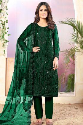 Most Demanding Dark Green Color Net Festive Salwar Suit
