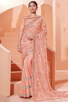 Most Demanding Designer Heavy Party Wear Lycra Peach Saree with Raw Silk Blouse