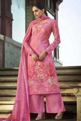 Most Demanding Digital Printed Cotton Pink Color Palazzo Suit