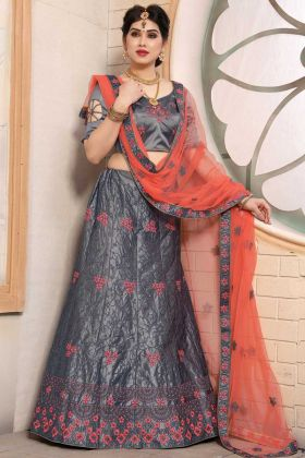 Most Demanding Grey Pure Satin Lehenga Choli For Wedding Wear