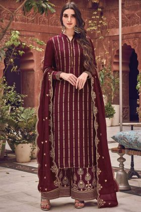 Most Demanding Maroon Jacquard Silk Embroidred Suit
