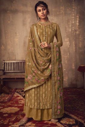 Most Demanding Olive Brown Jacquard Silk Salwar Suit