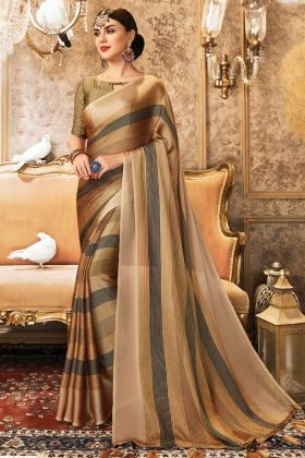 Most Demanding Party Wear Golden Saree In China Chiffon