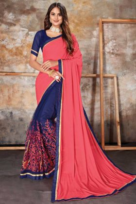 Most Demanding Peach Blue Lycra Net Saree With Lace Border