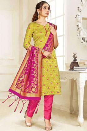 Most Demanding Pear Green Banarasi Art Silk Salwar Suit