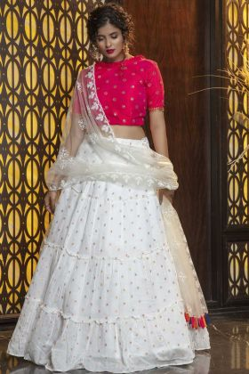 Most Demanding Rani Pink Cotton Lehenga Choli For Party Wear