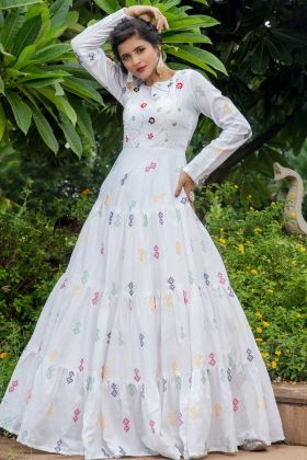 Most Demanding White Color Full Flaired Cotton Anarkali Suit