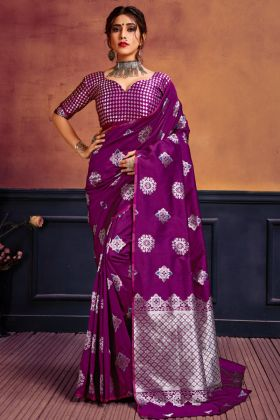 Most Demanding Wine Color Lichi Banarasi Silk Saree Online