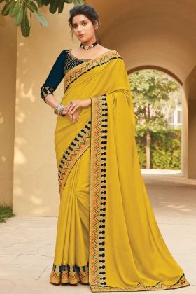 Most Demanding Yellow Color Fancy Saree With Broad Border