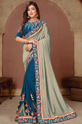 Most Demanding Party Wear Grey Blue Dola Silk Saree