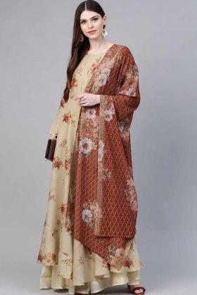 Most Popular Beige Color Printed Floore Length Suit