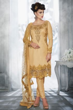 Most Popular Beige Color Two Tone Tussar Silk Festive Wear Suit