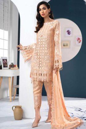 Most Popular Georgette Cream Color Pakistani Style Suit