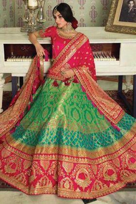 Most Popular Green Silk Fabric Designer Bridal Wear Lehenga Choli