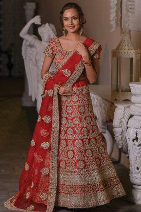 Most Popular Net Fabric Red Color Wedding Wear Lehenga Choli