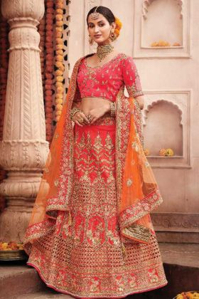 Most Popular Peach Pink Color Silk Fabric Bridal Wear Lehenga Choli