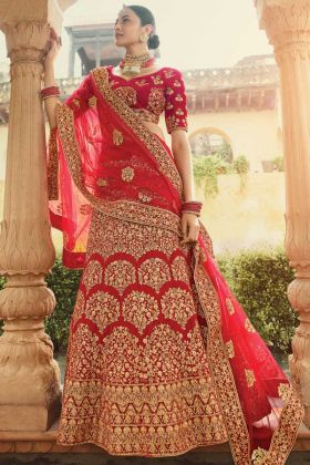 Most Popular Red Pure Velvet Bridal Wear Lehenga Choli